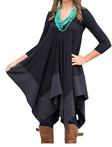 Womens Asymmetrical Casual Feminine Long Sleeve Tunic Shirt Dress (Asian Size XL(US L), Black)