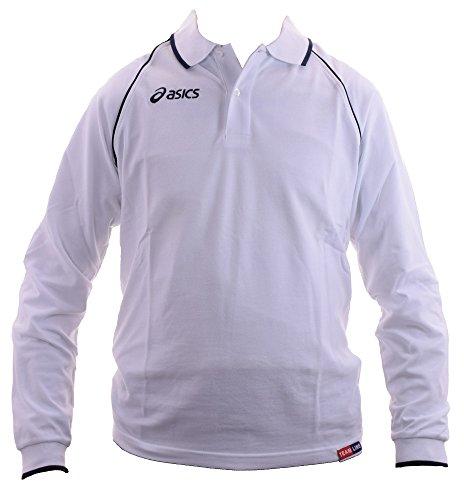ASICS Polo maniche lunghe unisex 100% cotone piquet KING bianco T208Z8