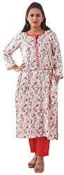 New Pinch Trends Women's Synthetic Long Sleeve Kurti (NPTAV-WhiteRedRyonflower1008_L, White, Large)