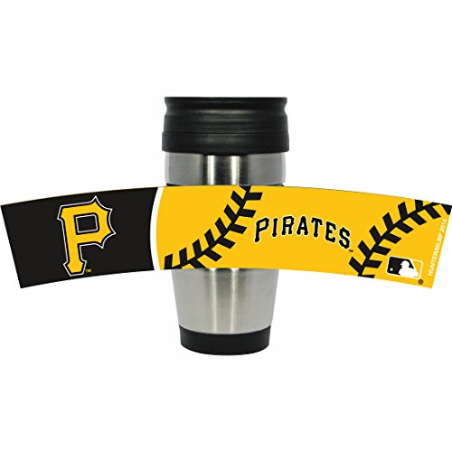 MLB Pittsburgh Pirates Stainless Steel Travel Tumbler with PVC Wrap, 15-Ounce, Team Color
