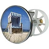 Sanitop-Wingenroth Bouchon d'évier en métal Motif cabane de plage Ø 38 mm