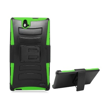 Cell Accessories For Less (Tm) **Pda**Zte Grand X Max Z787 Black Armor W/Stand, Green Skin& Black Belt Clip + Bundle (Stylus & Micro Cleaning Cloth) - By Thetargetbuys