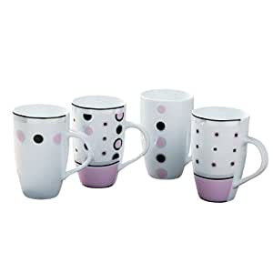 Set Of 8 Assorted Spots & Stripes Mugs