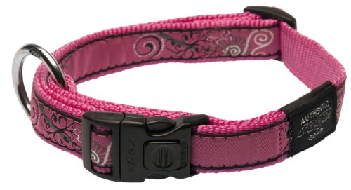Rogz Fancy Dress Large 3/4-Inch Beachbum Dog Collar, Pink Bone Design