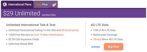 HJ Wireless Ultra Mobile Triple Cut SIM Card w/ 2 Months $29 Unlimited Talk  Text Data International Plan Nano Micro Standard SIM Card 4G LTE Free
