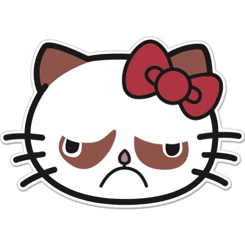 Amazon.com: Sad Cat Grumpy Cat Hello Kitty Car Sticker Decal Phone ...