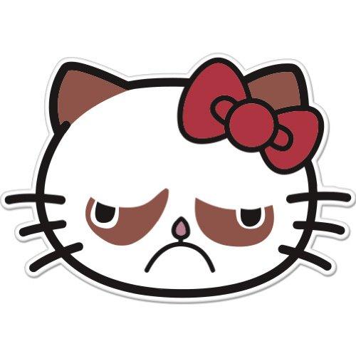 Amazon.com: Sad Cat Grumpy Cat Hello Kitty Car Sticker Decal Phone