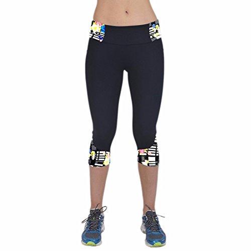 QIYUN.Z Nero Orlo Donne Della Stampa Yoga Lavoro In Palestra Pantaloni Corti In Esecuzione Leggings Fare Jogging