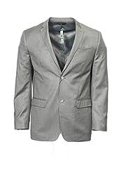 Perry Ellis Men\'s Poly Linen Textured Jacket, Pewter Heather, XX-Large/46