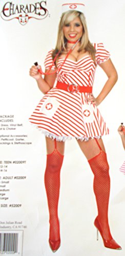 Candy Stripe Nurse Adult Costume Belt Hat 8-10 NIP