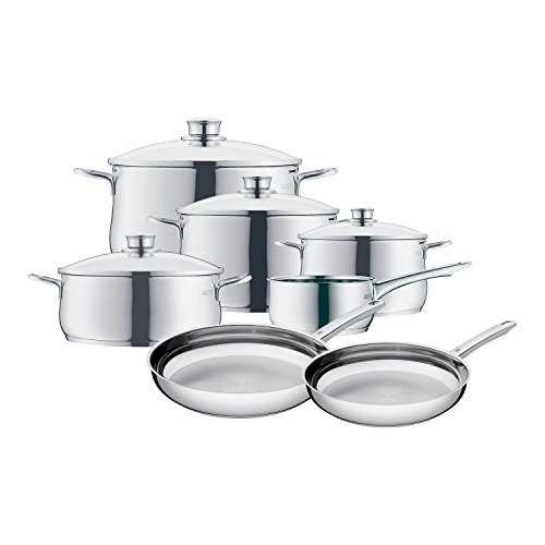 WMF 07 3057 6040 11-Piece Diadem Cookware Set, Silver (Wmf Pans compare prices)