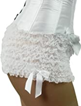Yummy Bee Sexy Lingerie Ruffled Frilly Knickers Hot Pants Black White Red Satin Bows Ladies Plus Size 6-24 (Women: 12-14, White)