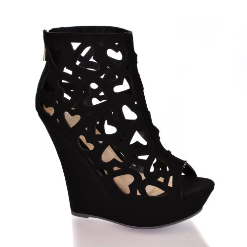 Dreamer39 Black Peep Toe Perforated Heart Design Platform Wedge Dress Sandals-6.5 front-320161