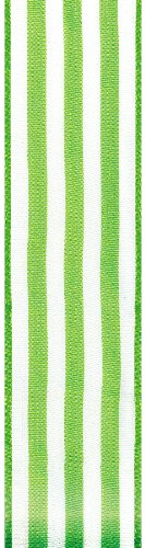 Offray Wired Edge Heatwave Stripe Craft Ribbon, 1-1/2-Inch Wide by 25-Yard Spool, Green