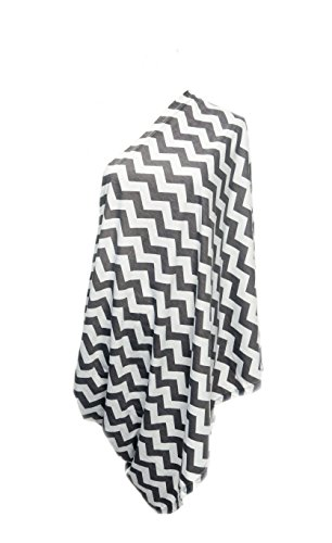 Infinity Nursing / Breastfeeding Scarf by nGenius, 100% Cotton (Chevron Grey & White)