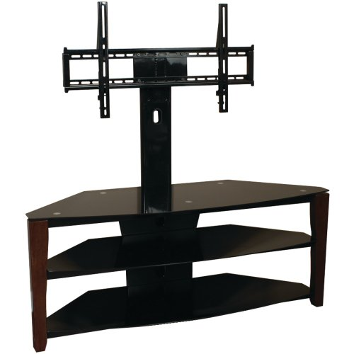 buy low price techcraft flex52w 52 inch wide tv stand with mount wood legs glass top walnut. Black Bedroom Furniture Sets. Home Design Ideas