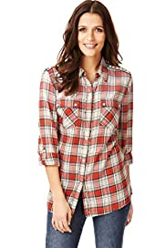 Indigo Collection Pure Cotton Shoulder Bead Checked Shirt
