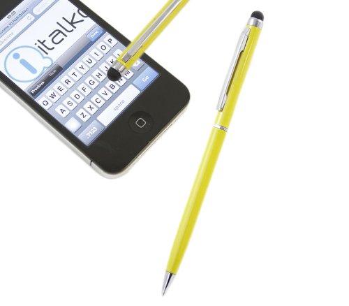 iTALKonline GELB IDUO Captive Touch-Tip-Stift mit Rubber Tip mit Roller Kugelschreiber für Samsung Galaxy Tab 2 7.0 P3110