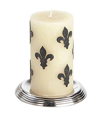 Et Al Designs Black Fleur de Lis Ivory Pillar Candle
