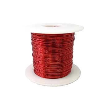 "Magnet Wire, Enameled Copper Wire, 24 AWG, 1.0 Lbs, 803' Length, 0.0221"" Diameter, Red"