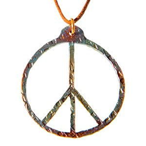 Hand Hammered Delicate Peace Symbol Iridescent Pendant Necklace on Adjustable Natural Cord