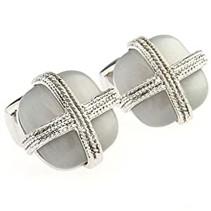 Beour White-Gold Color-Plated-Silver Color Romance Round White Opal Cufflinks