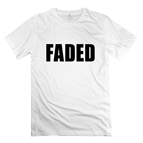 Faded Clothing Men's Cotton Round Neck Short Sleeve T-Shirt Tee White