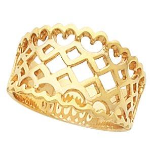 14K White Gold Fancy Band Size: 6