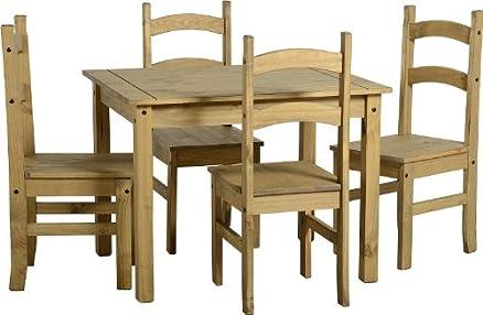 Bilancio Mexican-Tavolo da pranzo, in legno, con 4 sedie