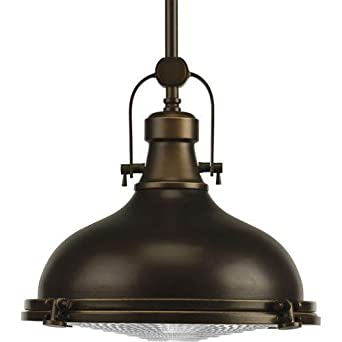 Progress Lighting P5188 108 Fresnel Collection 1 Light Pendant Oil Rubbed Br