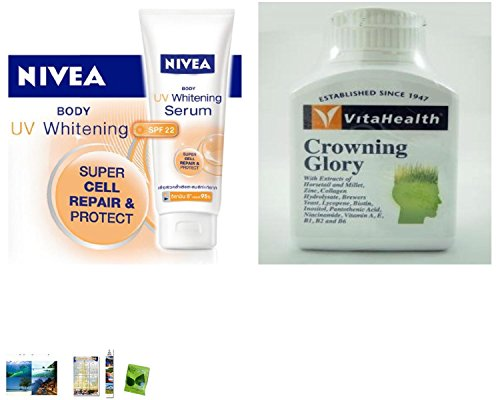 Special Set :Nivea Body Uv Whitening Serum Lotion Spf 22 Super Cell Repair & Protect 200 Ml Made In Thailand Plus Vitahealth Crowning Glory 60 Tablets. [Get Free Herbal Lozenges]