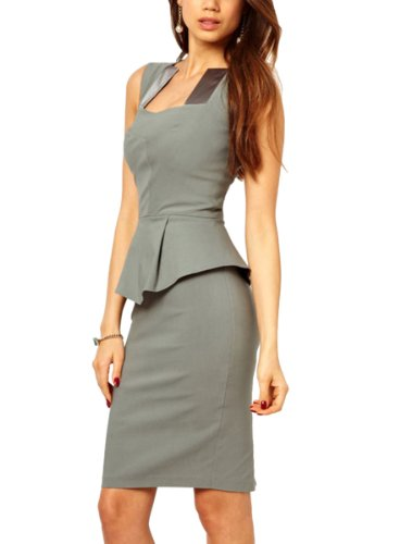 Cm-Zlmds Women'S Square Neck Sleeveless Skirt Falbala Sexy Grey Dresses-L