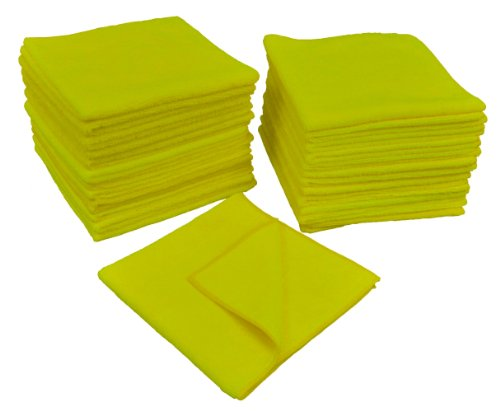 Eurow Microfiber 16 x 16 in. 300 GSM Cleaning Towels 25-Pack (Yellow)