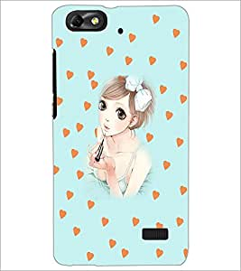 PrintDhaba Sweet Girl D-3707 Back Case Cover for HUAWEI HONOR 4C (Multi-Coloured)