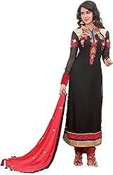 Renisha Fashion Women's Brasso Unstitched Salwar Suit (Black)