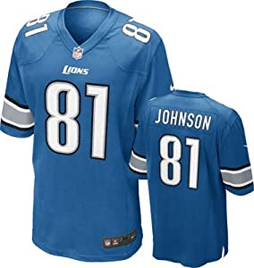 Detroit Lions Elite Jersey Calvin Johnson Blue Stitched - Mens Size 44/Large