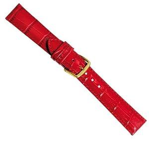Herzog Correa de Reloj piel de becerrocuero Band rojo con costura 20332G, Ancho de la pulsera: 22mm por Herzog