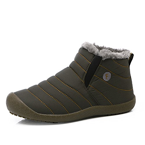 L-RUN Women s Waterproof Winter Boots with Fur Outdoor Warm Ankle Short  Snow Boots c334e4fda