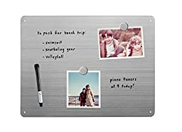 Three By Three Seattle Magnetic Dry Erase Board, Stainless, 16 x 12 Inches (32461)