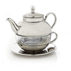 Teavana tea for one tea set silver glass single serving teapots tea sets - Teavana teapot set ...