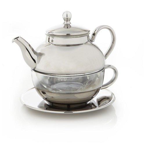 Teavana Tea For One Tea Set, Silver & Glass