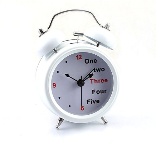 Aokdis Cute Lovely White Retro Classic Number/ English Double Bell Desk Table Alarm Clock