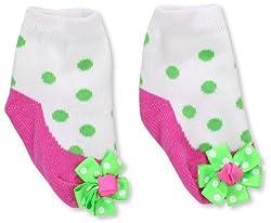 Mud Pie Newborn Baby-Girls Girl Sprout Socks, Pink/Green/White, 0-12 Months