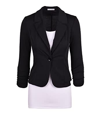 Auliné Collection Women's Casual Work Solid Candy Color Blazer Black Small
