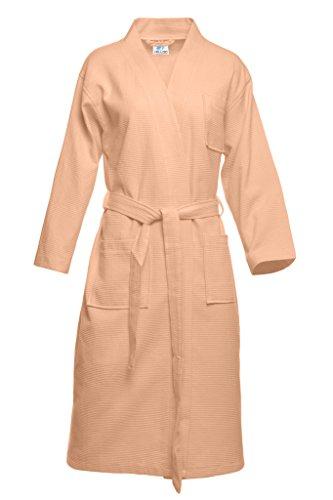 damen-einfarbiger-100-baumwolle-waffel-bademantel-kimono-fur-frauen-pink-grxl
