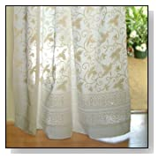 Ivy Lace ~ White Country Cottage Cotton Tab Top Curtain Panel
