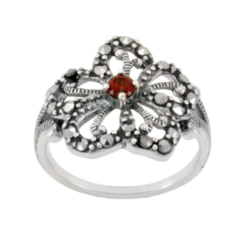Sterling Silver Marcasite Garnet Filigree Flower Ring, Size 5