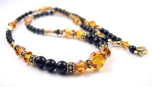 November Golden Topaz Beaded Swarovski Crystal Black Pearl Birthstone Necklace in Sterling Silver - MEDIUM 18 In.