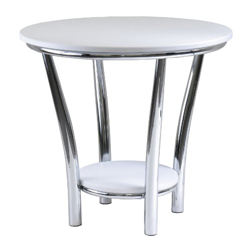 Winsome Wood Maya Round End Table, White Top, Metal Legs (B0046EC14E)