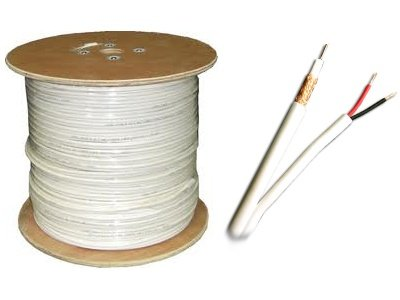 Acelevel 1000 FT RG59 Siamese Cable for Security Surveillance CCTV CamerasVideo Power 95% White